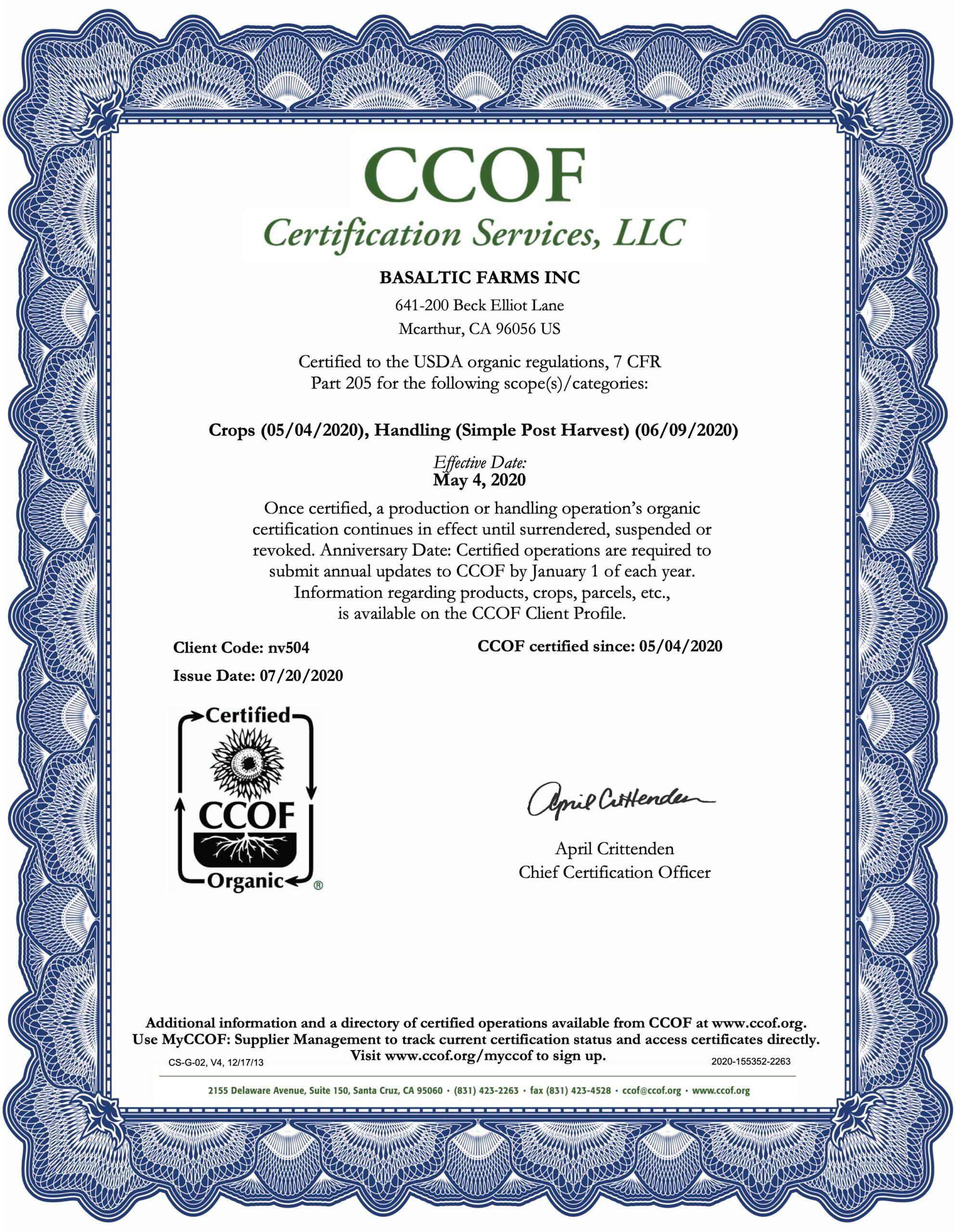 Certified California Organic Garlic Farm - Basaltic Farms